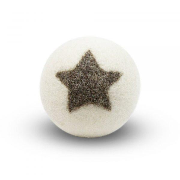 boule de séchage blanche avec une étoile grise - assouplissant naturel