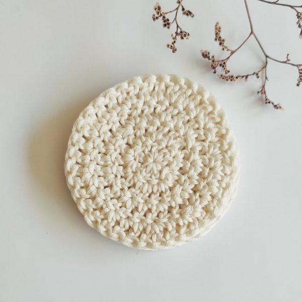 coton démaquillant lavable et exfoliant scrubbies blanc