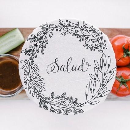 couvre-bol de dimension 25cm avec écriture salade