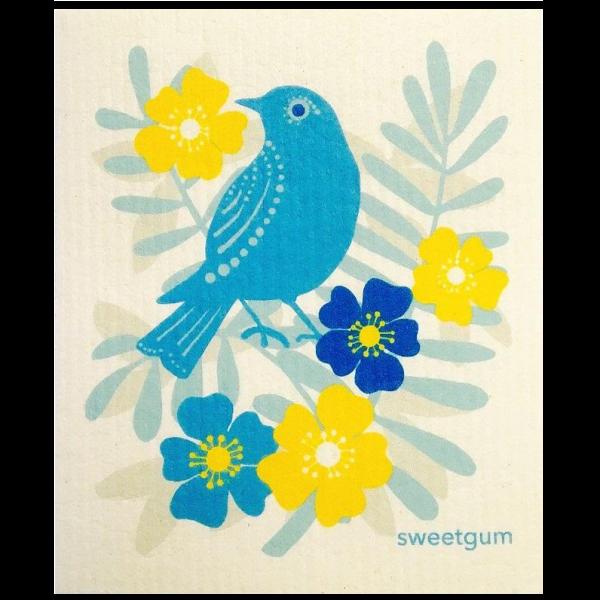torchon suédois, pour remplacer le sopalin,avec un oiseau bleu sur des fleurs jaunes