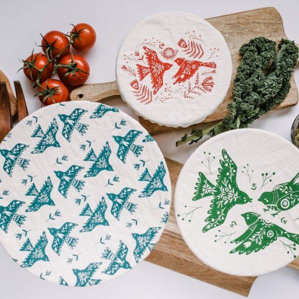 Lot de 3 couvre-bols avec motifs oiseaux
