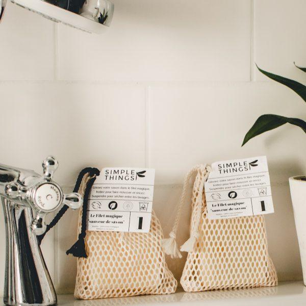 filet à savon écologique filet en coton biologique pour l'utiliser jusqu'au bout !